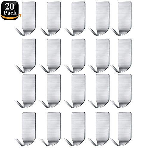 Small Adhesive Hooks Hat Organizer Hooks Wall Hangers Stainless Steel Ultra Strong Wall Rack Hooks for Hanging Hats, Caps, Keys, Kitchen Utensils- Kitchen, Bathroom, Cabinet-20 Packs