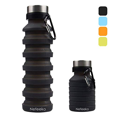 Nefeeko Collapsible Water Bottle, Reuseable BPA Free Silicone Foldable Water Bottles for Travel Gym Camping Hiking, Portable Leak Proof Sports Water Bottle with Carabiner, 18oz (Black)