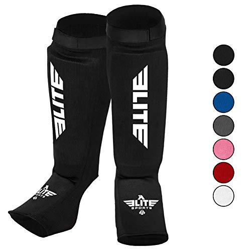 Elite Sports Muay Thai MMA Kickboxing shin Guards, Instep Guard Sparring Protective Leg shin Kick Pads for Kids and Adults (L-XL)