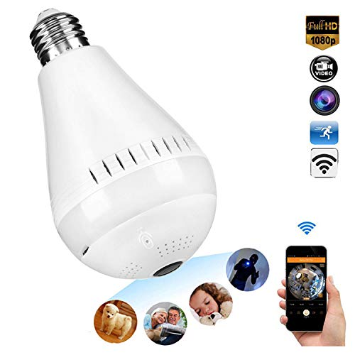Wireless 1080P Bulb Camera 360 Degree Panoramic Led WiFi Fish Eye Security IP Micro Cam Light Night Vision Motion Detection Baby Pet Surveillance for Outdoor Home