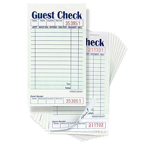 [10 Pads, 50 Sheets/Pad] Single Part Guest Checks Pad for Restaurants, Perforated 1 Part Green and White Check with Bottom Guest Receipt for Bars, Cafes and Restaurant Orders