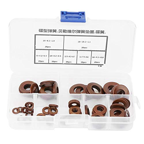 Hyuduo 7 Sizes Belleville Spring Steel Spring Washer Ring Spring Lock Washers Gasket Assortment Set for Heavy Machinery 140Pcs