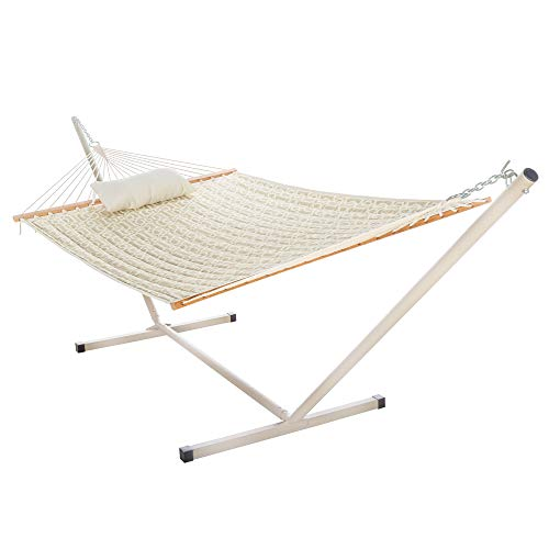 Castaway Hammocks Quilted Hammock Combo with Small Stand and Pillow, Beige