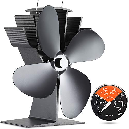 GALAFIRE [ 2 Years ] 122F Start Silent Heat Powered Wood Stove Fan 4 Blade Black Small for Gas/Pellet/Wood/Log Burning Stoves + Thermometer