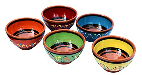 Cactus Canyon Ceramics Spanish Terracotta 5-Piece Small Salsa Bowl Set (European Size), Multicolor