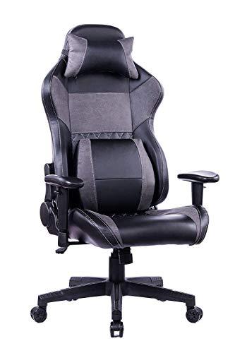 HEALGEN Reclining Gaming Chair with Adjustable Massage Lumbar Pillow and Footrest- Memory Foam PC Computer Racing Chair - Ergonomic High-Back Desk Office Chair (8260-GREY)