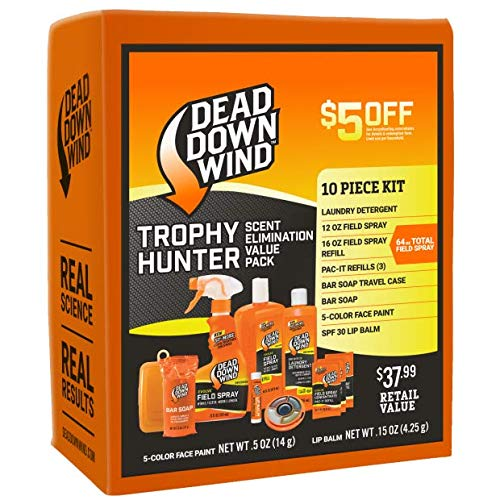 Dead Down Wind Trophy Hunter Kit | 10 Piece | Hunting Accessories | Odor Eliminator for Hunting Gear | Scent Blocker Laundry Detergent, Bar Soap, Field Spray, Lip Balm | Scent Elimination Value Pack