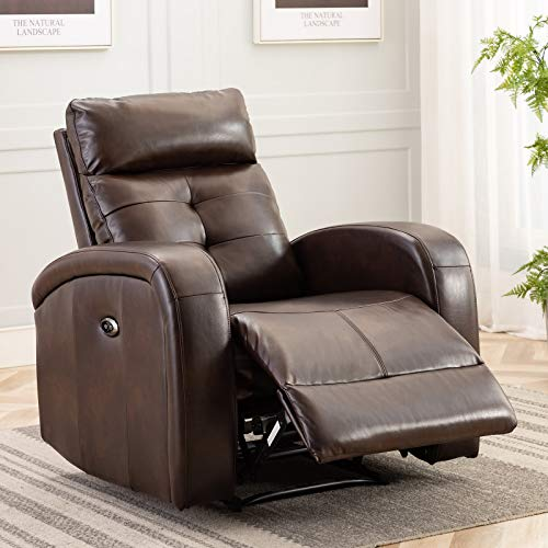 ANJ Electric Recliner Chair Oversize Breathable Bonded Leather, Extra Wide Electric Power Recliner with USB Charge Port, Home Theater Seating for Bedroom & Living Room Chair Recliner Sof (D5122 Brown)