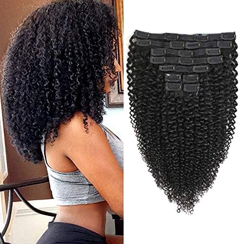 Rolisy Kinky Curly Clip in Hair Extensions Afro 3C 4A Kinky Curly Hair Clip Ins for Women Thick Soft 8A Brazilian Remy Hair,16 Inch,Black Color,10/Pcs with 20 Clips,120 Gram