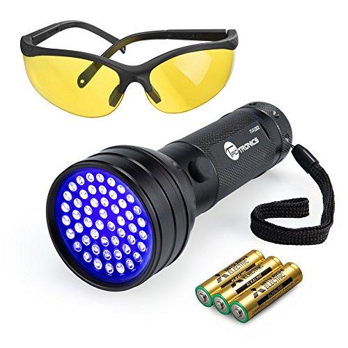 TaoTronics TT-FL002 Black Light, 51 LEDs Uv Blacklight Flashlights Detector for Dry Pets Urine & Stains & Bed Bug with Uv Sunglasses & 3 AAA Batteries