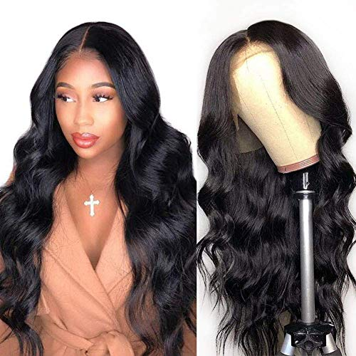 9A Lace Front Wigs Human Hair, 150% Density Pre Plucked with Baby Hair, Doheroine Brazilian Body Wave Lace Frontal Wigs Human Hair for Black Women Natural Color(16 Inch)