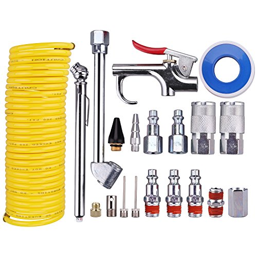 WYNNsky Air Compressor Kit, 1/4 Inch NPT Air Tool Kit with 1/4 Inch x 25Ft Coil Nylon Hose/Tire Gauge - 20 Pieces
