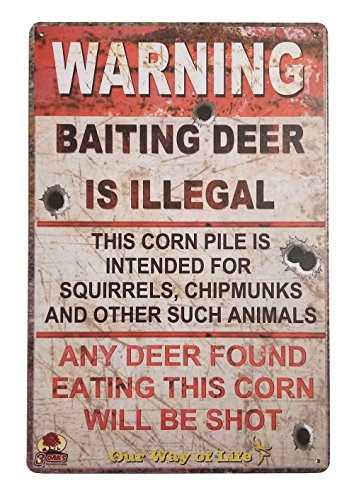 ERLOOD Warning Baiting Deer is Illegal Metal Tin Sign, Tin Signs Vintage Coffee Wall Coffee & Bar Decor,Size 12 X 8