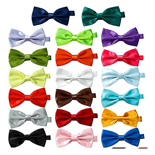 DanDiao 20 Pcs Elegant Pre-tied Bow ties Formal Tuxedo Bowtie Set with Adjustable Neck Band,Gift Idea For Men And Boys, Medium