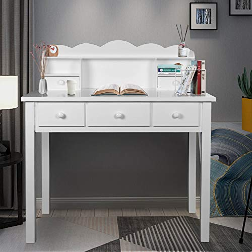 Home Office Furniture Writing Desk,Computer Work Station with Detachable Hutch,5 Drawers(White)