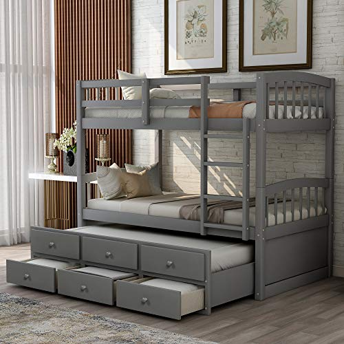SOFTSEA Wood Twin Over Twin Bunk Bed with Trundle and 3 Storage Drawers, Kids Twin Trundle Bed, Guest Room Furniture (Grey)