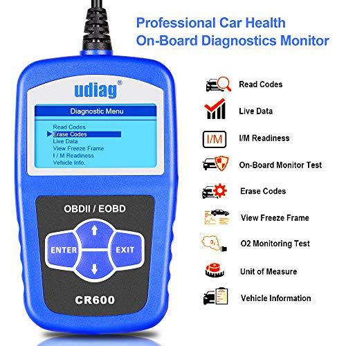 OBD2 Scanner OBD Car Diagnostic Tool Code Reader Obdii Scanners Universal Cars Code Reader Scan Directly Check Engine Light MIL Error Meaning Read Erase Fault Codes Identify Vehicle I/M VIN CID CVN