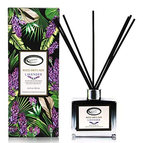 Airbreezy Lavender Scent Reed Diffuser Set with Sticks, Essential Incense Oil Air Freshener for Bathroom, Office, Gym, and Bedroom Fragrance, 3.4 fl. oz