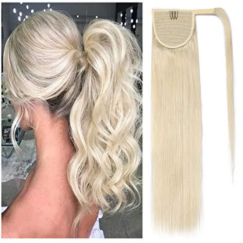 S-noilite Ponytail Extension Human Hair Wrap Around Ponytail Hair Extension Clip in Binding Ponytail Hair Piece 100% Remy Human Hair Long Straight 18 Inch #60 Platinum Blonde