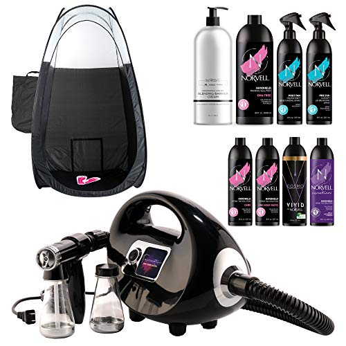 Naked Sun Fascination Spray Tan Machine System with Norvell Airbrush Tanning Solution Sunless Pro Kit with Disposable Spa Feet and Extra Large Professional Black Pop Up Tent Bundle (11 Items)