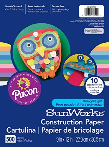 SunWorks Construction Paper, 10 Assorted Colors,  9' x 12', 500 Sheets