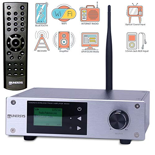 TUNERSYS Wi-Fi Internet Radio Bluetooth Amplifier 2 Channel Class D Stereo Receiver 100W - Mini Amp DAC Optical to RCA Out-put Wireless Tuner Component Stereo Receiver Home System Digital In-put WS161