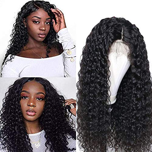 Larhali Brazilian Deep Wave Lace Front Wigs Human Hair Pre Plucked Lace Front Deep Curly Wigs with Baby Hair Glueless Lace Wigs for Black Women 150% Density Unprocessed Virgin Human Hair(26inch)