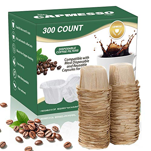 CAPMESSO Disposable Coffee Paper Filters Replacement Keurig Filter for Reusable Single Serve Pods Keurig Coffee Maker- 300 Count (Natural)