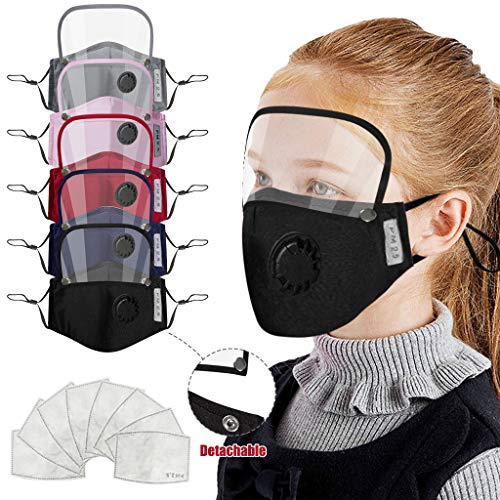 Kids ' Bandanas With Filter And Detachable Eye Shield, Face Covering with Breathing Valve, Washable Reusable, Anti-Haze Dust, for Children Outdoor Sport (5Pcs + 10Pcs Filters)