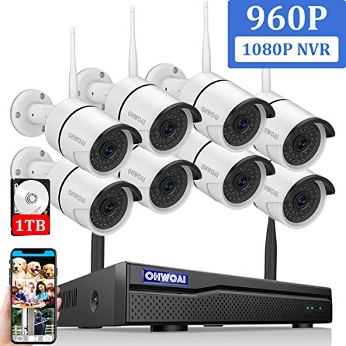 OHWOAI Security Camera System (8 Channel 1080P NVR+8pcs 960P Cameras+1TB HDD)