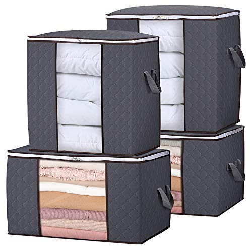 Lifewit Storage Bag Closet Organizer with Reinforced Handle Firm Fabric Strong Zipper Foldable Breathable Storage Container Set for Clothes, Quilts, Blankets, Bedding, 4 Pack, Grey