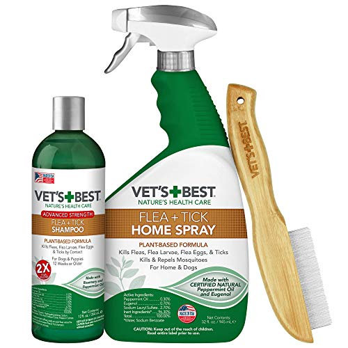 Vet's Best Flea and Tick Treatment Combo Kit   Flea Treatment for Dogs   Flea Killer with Certified Natural Oils