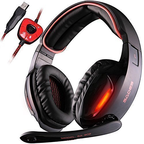 SADES 7.1 Surround Stereo SoundGaming Headset, USB Over Ear Gaming Headphones, Red Headset with Noise Cancelling & Mic Volume Control & Led Light for PC MAC Laptop Computer Games