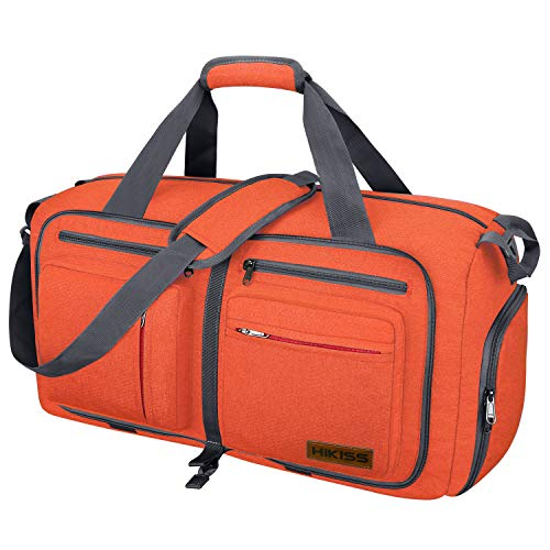 Travel Duffel Bag, 75L Packable Duffle Bag with Shoes Compartment Foldable Weekender Bag for Men Women Water-proof & Tear Resistant HIKISS-Orange