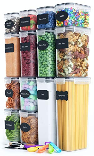 Chef's Path Airtight Food Storage Container Set - 14 PC - Kitchen & Pantry Organization - BPA-Free - Plastic Canisters with Durable Lids Ideal for Cereal, Flour & Sugar - Labels, Marker & Spoon Set