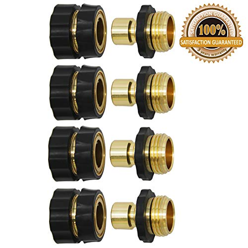 Twinkle Star 3/4 Inch Garden Hose Fitting Quick Connector Male and Female Set, 4 Set