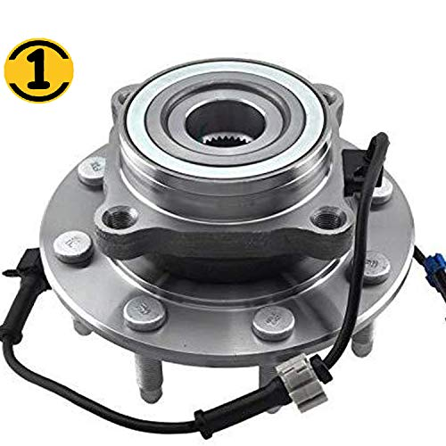 (4WD) Front Wheel Bearing Hub Assembly Fit 1999-2007 Chevy Silverado Avalanche Suburban GMC Sierra Yukon XL 1500 2500 3500, 03-07 Hummer H2 Hub Bearing w/ABS, 8 Lugs, 4x4-515058