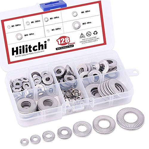 Hilitchi 128-Pcs [M3 - M12] Metric 304 Stainless Steel Belleville Spring Disc Washer Assortment Set
