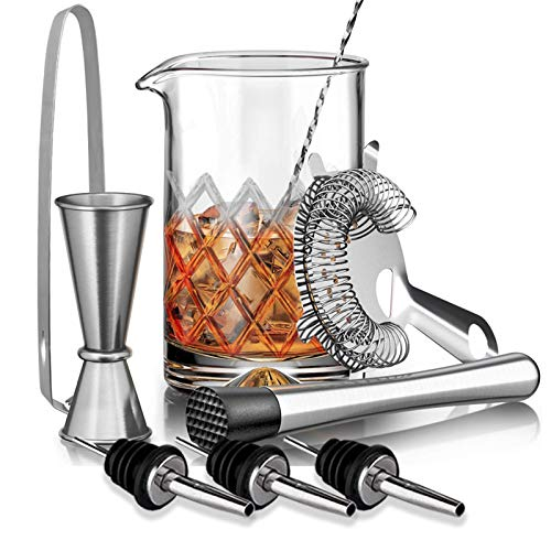Cocktail Mixing Glass Kit, SUPERSUN 9 Piece Home Bar Tools Set with 18oz 500ml Lead-Free Glass, Cocktail Strainer, Muddler, Spoon, Jigger, Ice Thongs - Bar Accessories and Tools