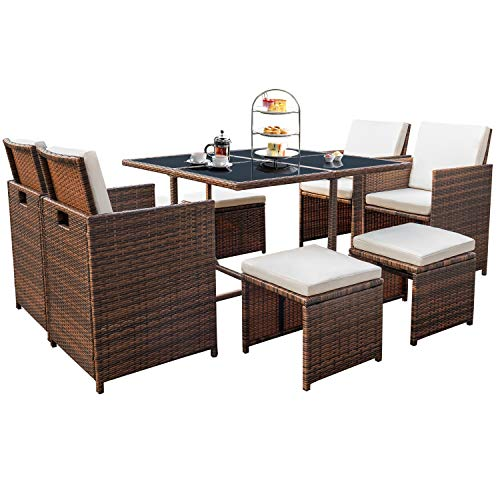 Devoko 9 Pieces Patio Dining Sets Outdoor Space Saving Rattan Chairs with Glass Table Patio Furniture Sets Cushioned Seating and Back Sectional Conversation Set (Beige)