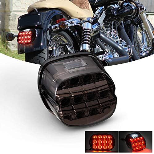 BUNKER INDUST Motorcycle LED Tail Lights Smoked Rear Stop Running Brake Compitable for Harley Dyna Road King Electra Glide Street Bob Touring
