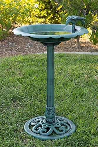 Alpine Corporation Plastic Birdbath and Feeder - Outdoor Decor for Garden, Patio, Deck, Porch - Green