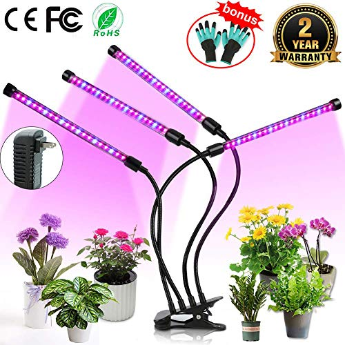 Upgraded Grow Light, 4 Heads 72pcs LEDs Plant Light for Indoor Plants, Auto ON/Off Full Spectrum Plant Grow Light, 3/6/12H Timer 5 Dimmable Levels Growing Lamp for Garden Seedling Herbs Succulents