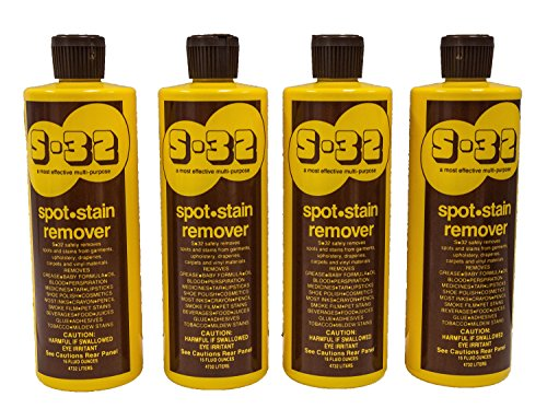 S-32 Spot Stain Remover, Safely Removes Stubborn Spots and Stains, Commercial Use, Household Needs, 15.2 Ounces, 4 Pack