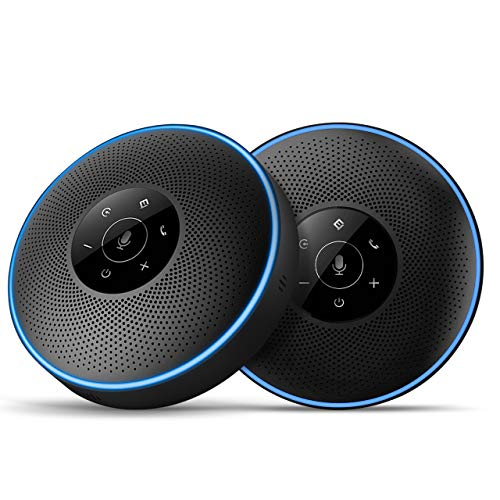 Bluetooth Speakerphone -Daisy Chain/Use Alone up to 16 attendees, eMeet M220 Professional Wireless Speakerphone 360°Voice Pick-up 8 AI Noise Cancellation Mics Skype Speakerphone for Business Softphone