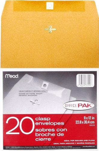 Mead Clasp Envelopes, 9' x 12', Brown Kraft, Office Pak, 20 per Box (76020)