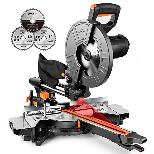 TACKLIFE 10-Inch Sliding Compound Miter Saw, 15Amp Motor, Dual Speed Adjustment, Multifunctional Miter Saw with Laser Guide, Iron Blade Guard, Extension Table, 3 Blades Included