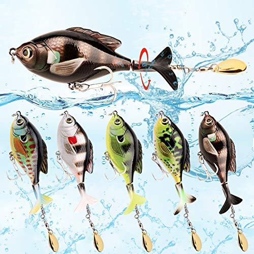[2020 New Upgrade] Fishing Topwater Goldfish Lures 3.74inch/0.59oz with Rotating Spinner Tail for Trout,Pike and Bass Floating Artificial Bait with Treble Hooks 5pcs