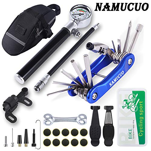 NAMUCUO Bike Tyre Repair Tool Kit - Bicycle Tool kit with 210 Psi Mini Pump 10-in-1 Multi-Tool(with Chain Breaker), Tyre Levers &Tire Patch, Bone Wrench, 1 Saddle Bag. 6 Month Warranty