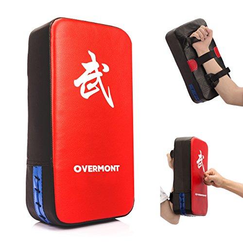 Overmont Taekwondo Kick Pads Boxing Karate Pad PU Leather Muay Thai MMA Martial Art Kickboxing Punch Mitts Punching Bag Kicking Shield Training